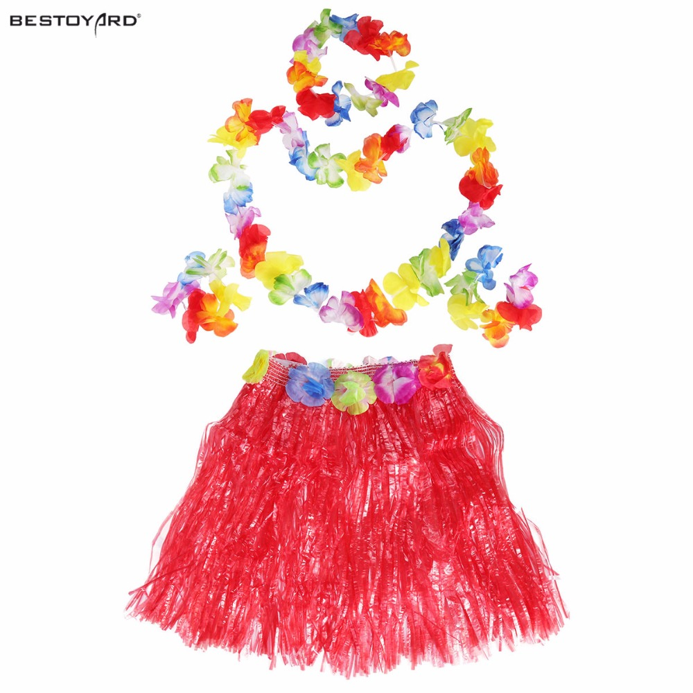 e13ae16d566f 40cm Hawaii party Tropical Hula Grass Dance Skirt + Bra + Flower +  Bracelets + Headband +Necklace Set theme beach wedding party