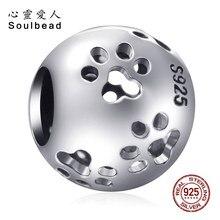 Soulbead Europäischen 925 Sterling Silber Openwork Pfote Druckt Charme Perlen Fit Pandora Hund Charms Armbänder DIY SS2460
