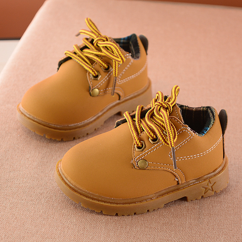 2017 spring and autumn yellow kids boots shoes soft bottom leisure sports girls boots bl ...