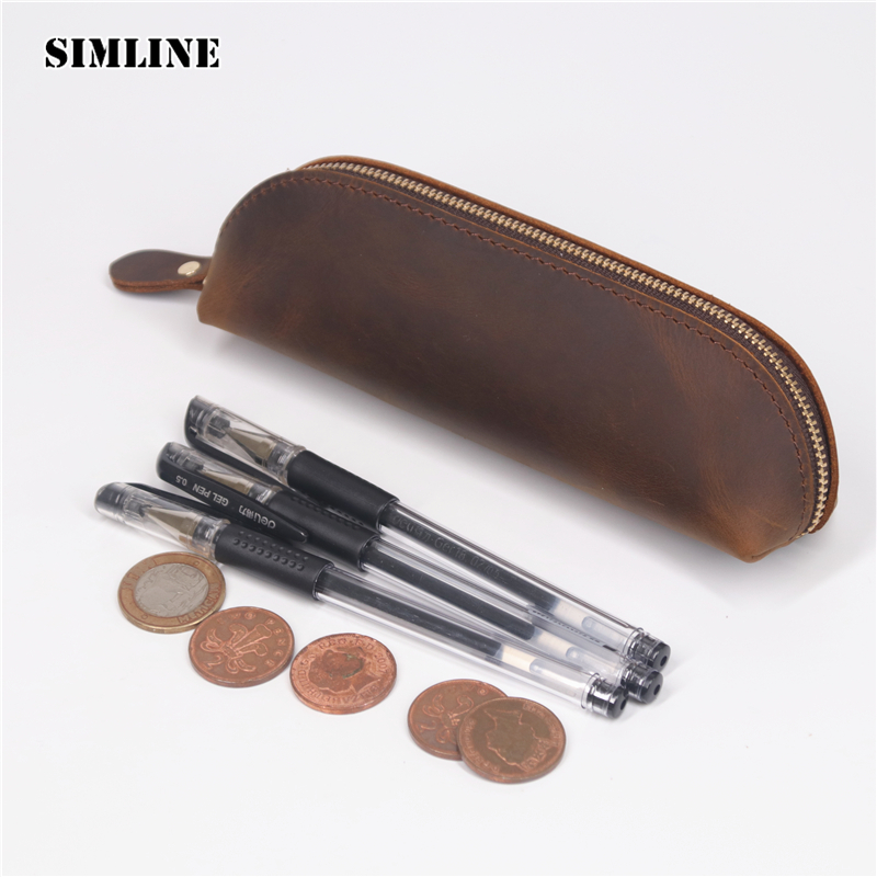 все цены на SIMLINE Vintage Genuine Leather Pen Pencil Bag Case Men Women Handmade Cowhide Long Zipper Wallet Coin Purse Bag Holder Children