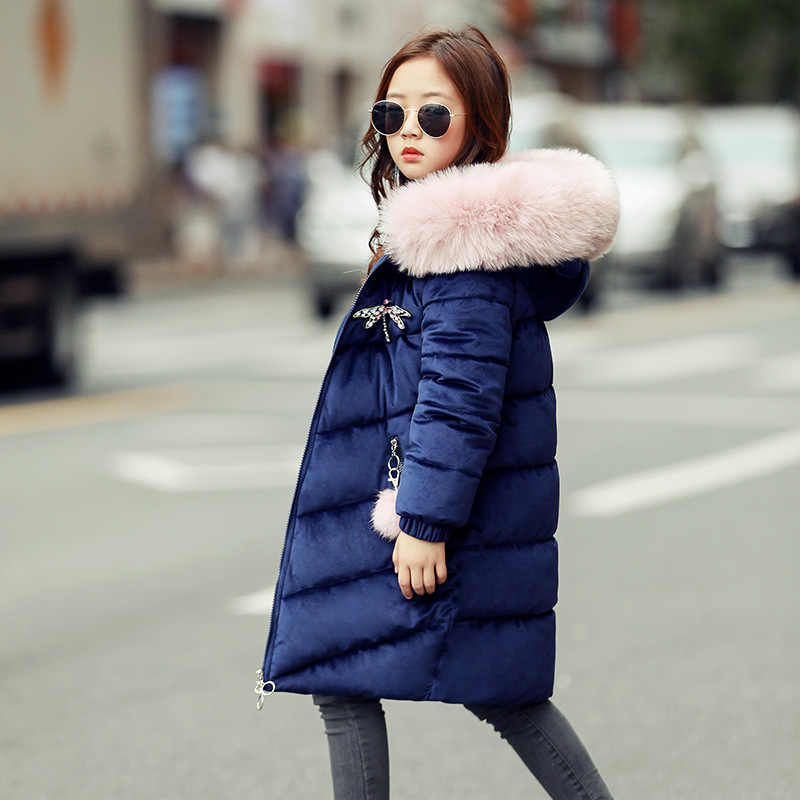 2018 少女の冬コットンウォーム綿が詰めジャケット子供冬 Jacke 公園女の子子供ロング大毛皮襟コート