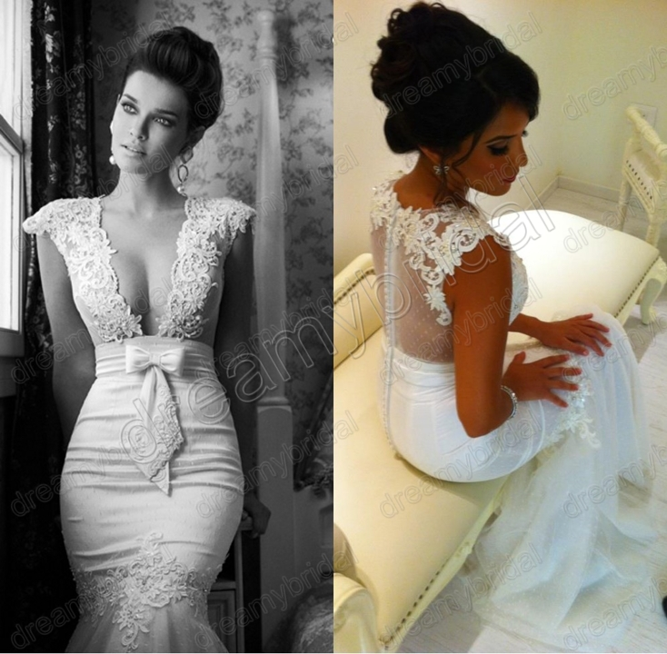 2013 sexy cap sleeves deep v neck lace tulle mermaid for Wedding dress lace cap sleeves vintage