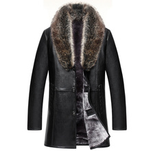 2020 New Brand Real Fur Collar Leather Jacket Men Russian Winter Single Breasted