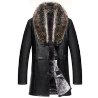 2020 New Brand Real Fur Collar Leather Jacket Men Russian Winter Single Breasted Windbreaker Jacket Male Thicken Leather Jacket