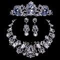 2016 Новый дизайн Благородный капли Воды кристалл люкс ювелирные наборы Очаровательная горный хрусталь ожерелье наборы для Женщин свадебные аксессуары для волос
