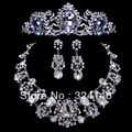2016 New design Noble Water drop crystal bridal jewelry sets Charming rhinestone necklace sets for Women wedding hair accessory