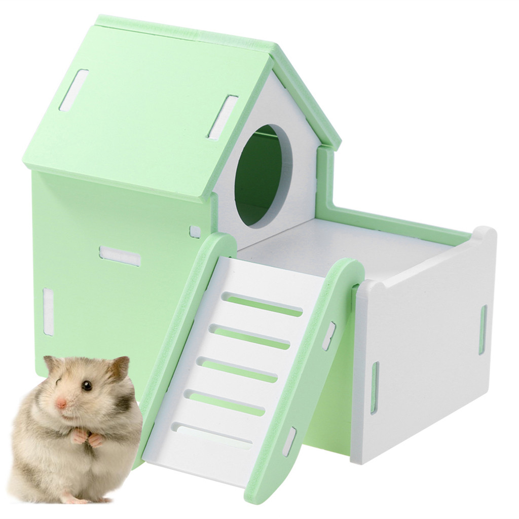 Hamster Gerbil Mouse Activity Climbing Tower Wooden Platform Stand Toy