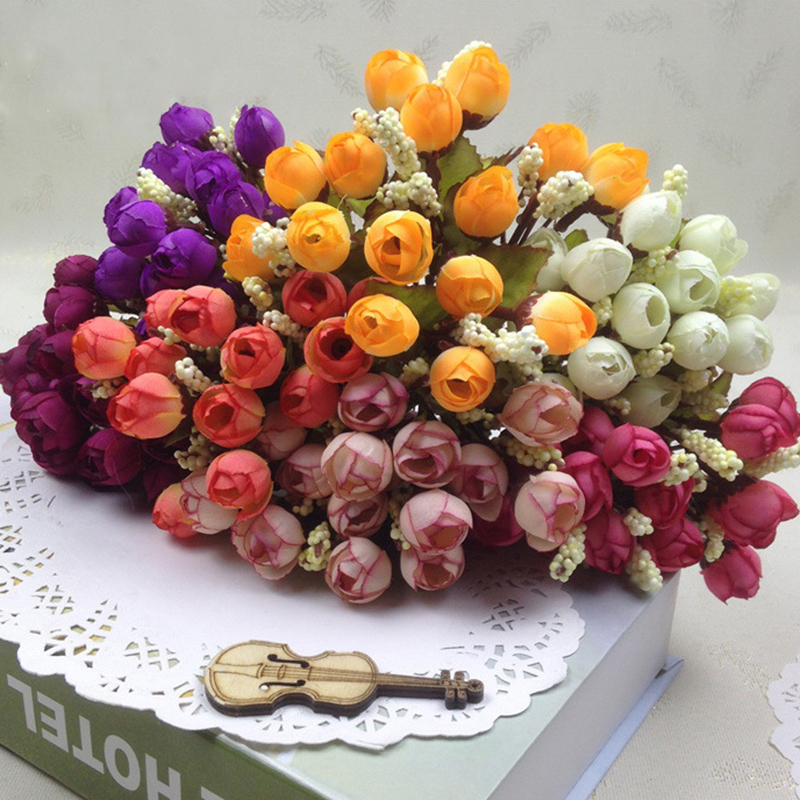 15Heads Mini Silk Peony Artificial Flowers Bride Bouquet For Wedding Home Party Decoration 1