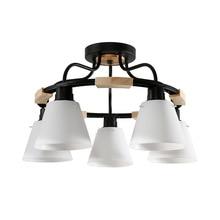 Bắc Âu LED Gỗ Đèn Chùm Đèn E27 Với NHỰA PVC Chụp Đèn Cho Phòng Khách Thiết Bị Chiếu Sáng 220V 110V Ánh Sáng