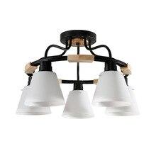 נורדי עץ נברשת אורות E27 עם PVC אהיל לסלון תאורת גופי 220V 110V אור