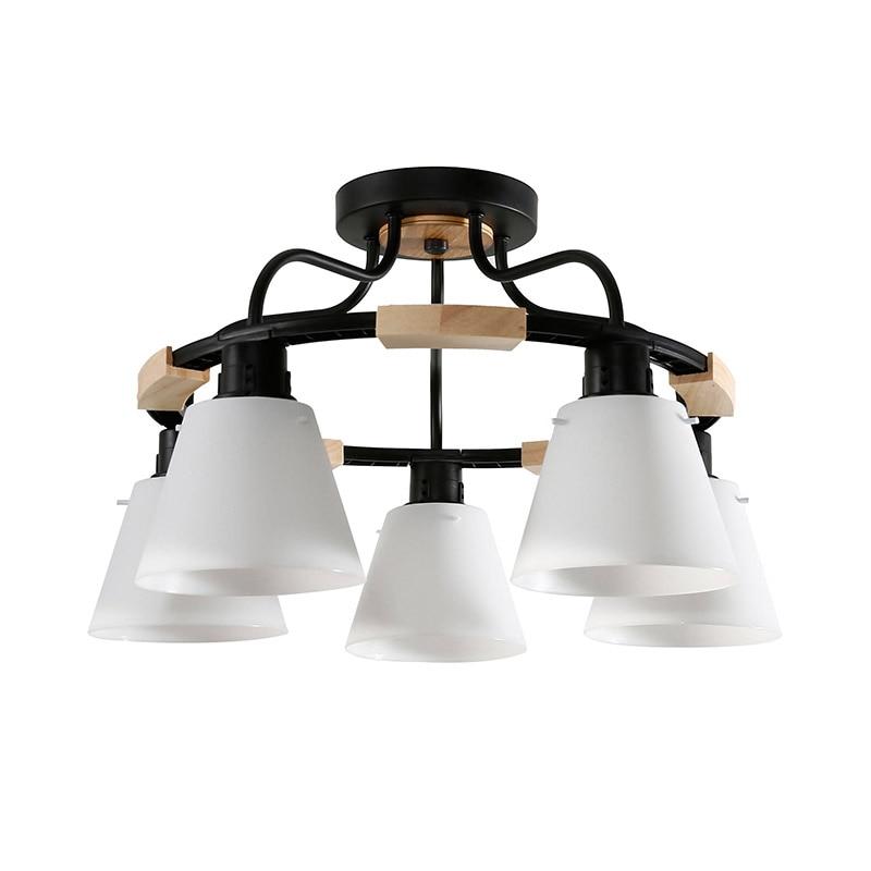 Nordic LED Light Wooden Chandelier Lights E27 With PVC Lampshade For Living Room Lighting Fixtures 220V Innrech Market.com