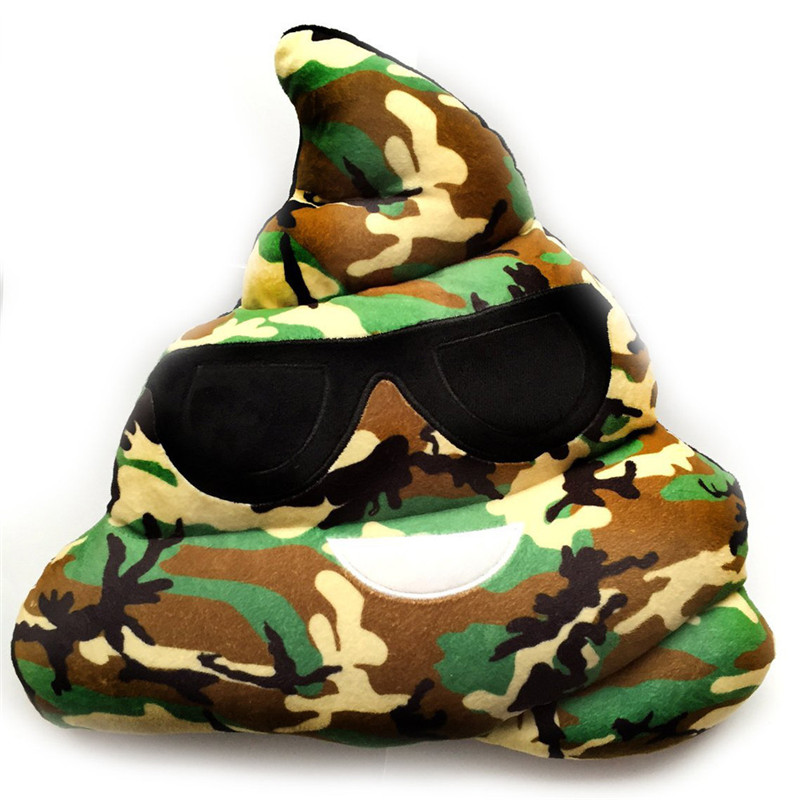 2017 Camouflage Amusing Emoji Emoticon Cushion Heart Eyes Poo Shape Pillow Doll Toy Gift emotion poop toy spot dot colorful sale