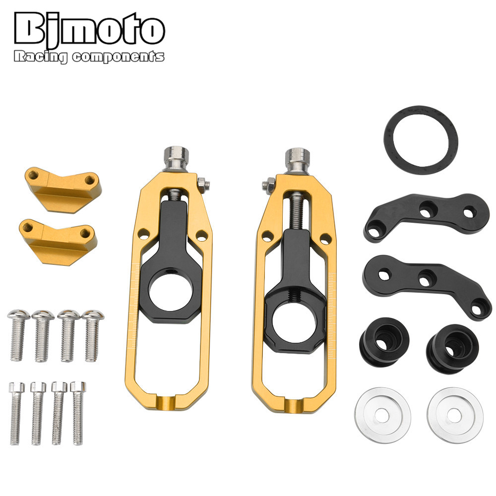 BJMOTO Motorcycle Tensioner Catena Rear Axle Spindle Chain Adjuster with Spools For Kawasaki ZX10R ZX 10R 2011-2016 Motorbikes fit for kawasaki z900 z 900 2017 motorcycle cnc aluminum rear axle spindle chain adjuster blocks and spool sliders