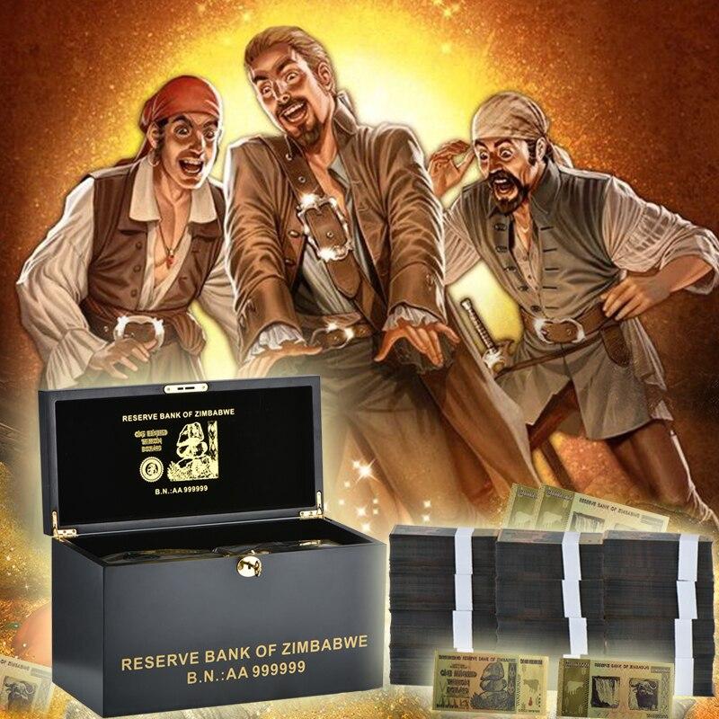 Faux argent 1000 pièces 100 billion de Dollars Zimbabwe billets en or avec qualité boîte en bois noir faux billet Album cadeau de noël