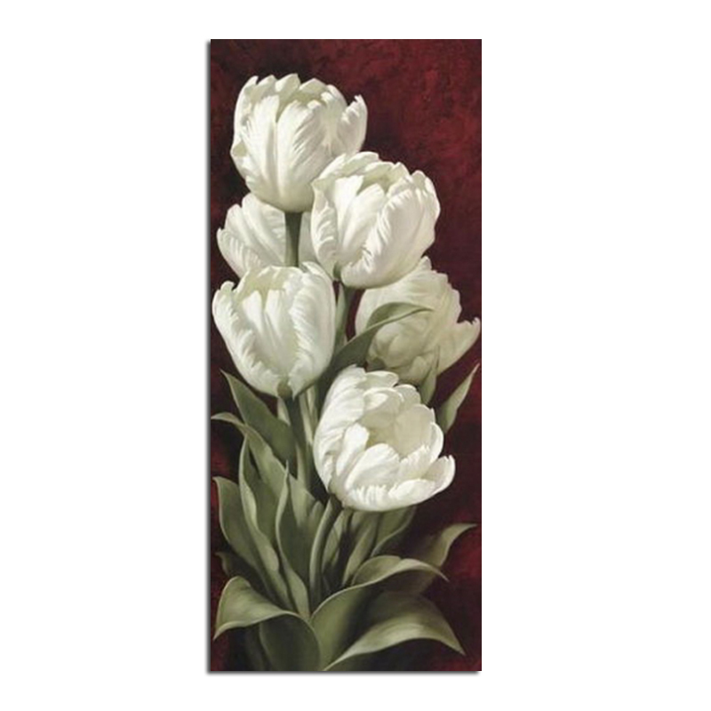 Tulip putih 28x65cm Diamond Embroidery Lukisan Hiasan Rumah Diamond Mosaic Corak Full Square Diamond Painting zx