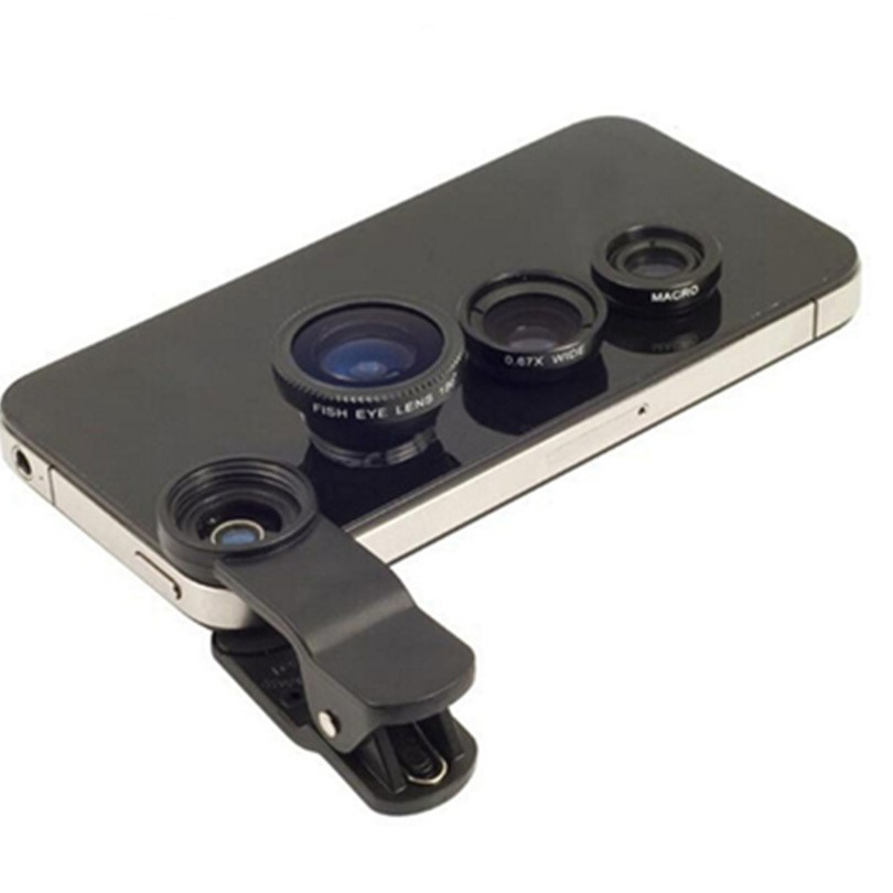 Fisheye Lens 3 in 1 mobile phone lenses fish eye +wide angle +macro camera lens for iphone 7 6s plus 5s/5 xiaomi