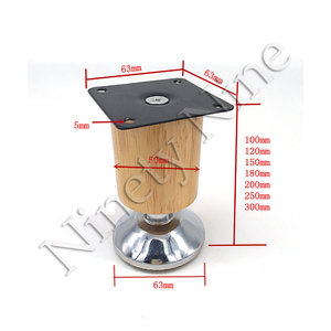 Image 2 - 4Pcs 100/120/150/180/200/250/300mm Height Wooden Furniture Cabinet Leg Cabinet Adjustable Feet Metal  Sofa Bed Foot Legs Support