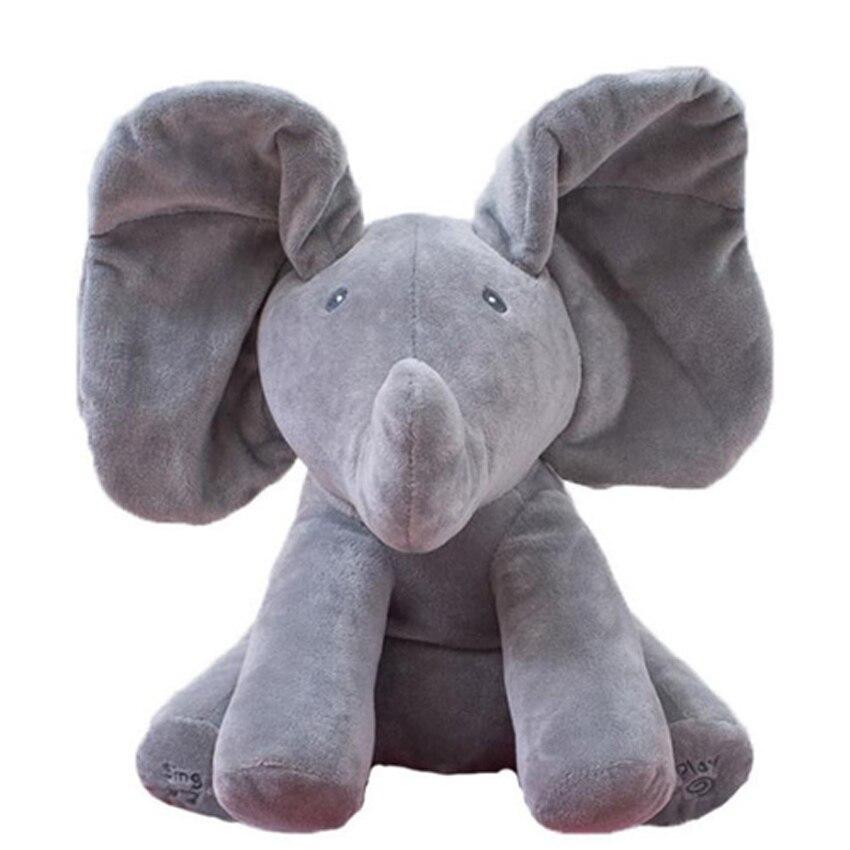 30 cm Tocar Música Elefante Elefante 2018 Elétrica Peek a boo Brinquedo de pelúcia Macia Bicho de pelúcia Boneca Jogar Bonito Educacional brinquedo