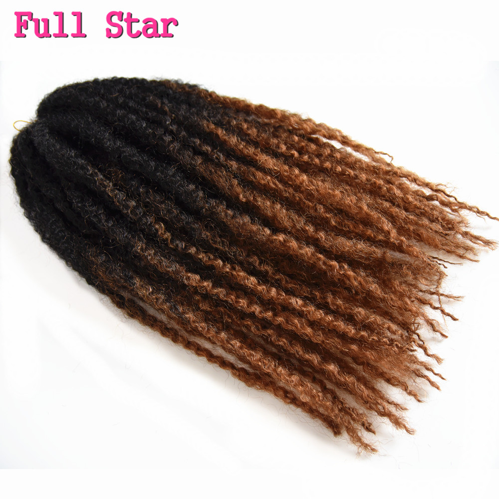 Full Star Afro Kinky Twist Braids Hair 6pcs Dip Dye 18inch 100g Ombre Brown Red Jumbo Crochet Box Braiding Hair Extensions