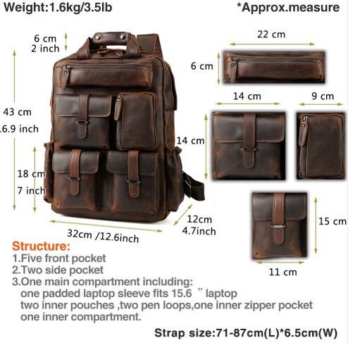 Для мужчин Weekender сумка большой enuine кожа рюкзаки повседневное стиль Carry On дорожные сумки мужской коричневый прочный рюкзак - 2