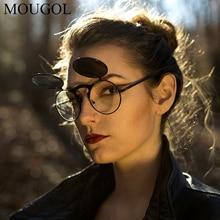 MOUGOL Steampunk Sunglasses Round Metal OCULOS De Sol Women Style Retro Flip Circular Double Metal CIRCLE Sun Glasses Men metal double circle hooked bracelet