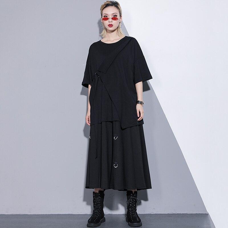 Romano Suave Colgar Diseño Metal Negro Y Nuevo Falda Moda Mujeres Black Algodón Verano Primavera 2019 Anillos De Larga nqFOH6H