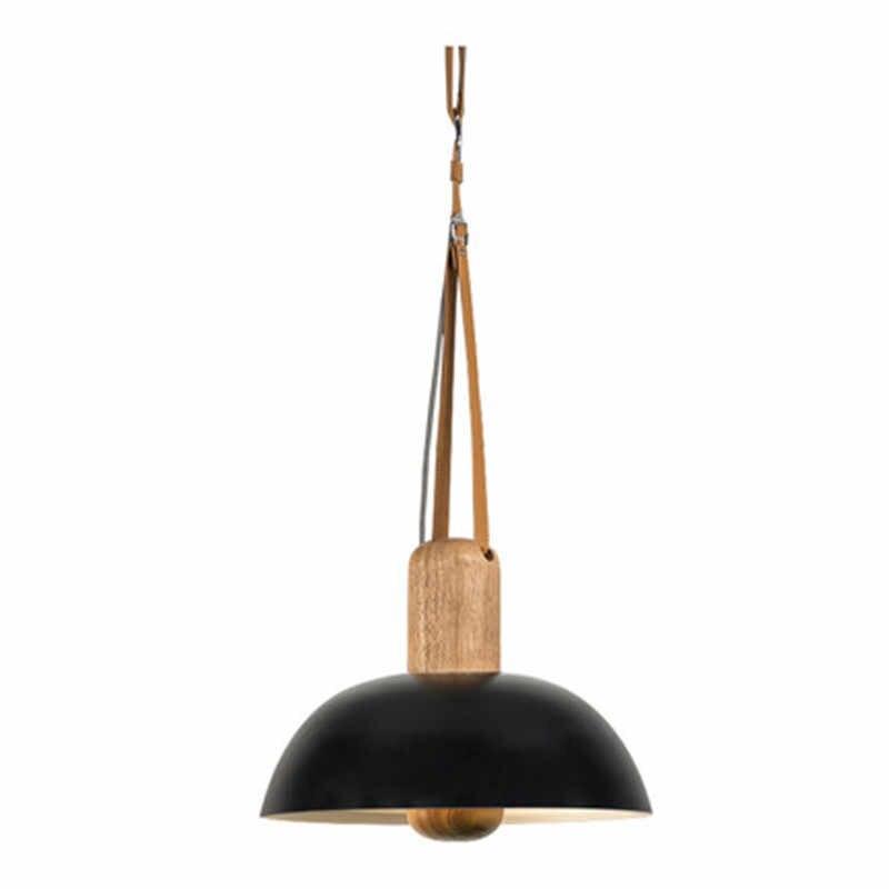 Скандинавский чердак Стиль одинарный подвесной светильник современный светодиодный подвесной светильник простой деревянный железный кожаный подвесной светильник для внутреннего освещения