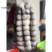 FURSARCAR 2018 Fashion New Real Fox Fur Vest Women Winter Natural Fur Waistcoat 130 CM Long Fox Fur Female Gilet With Hood