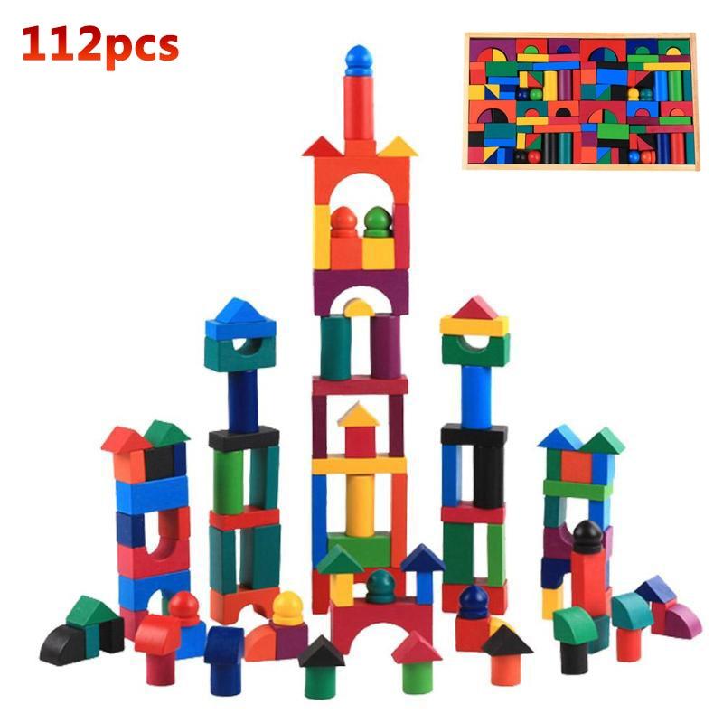 112 Blocos De Dominó De Madeira pçs/set Colorful Rainbow Building Toy Primeiros Brinquedos Educativos Para Crianças Crianças Dominó Jogos Presentes