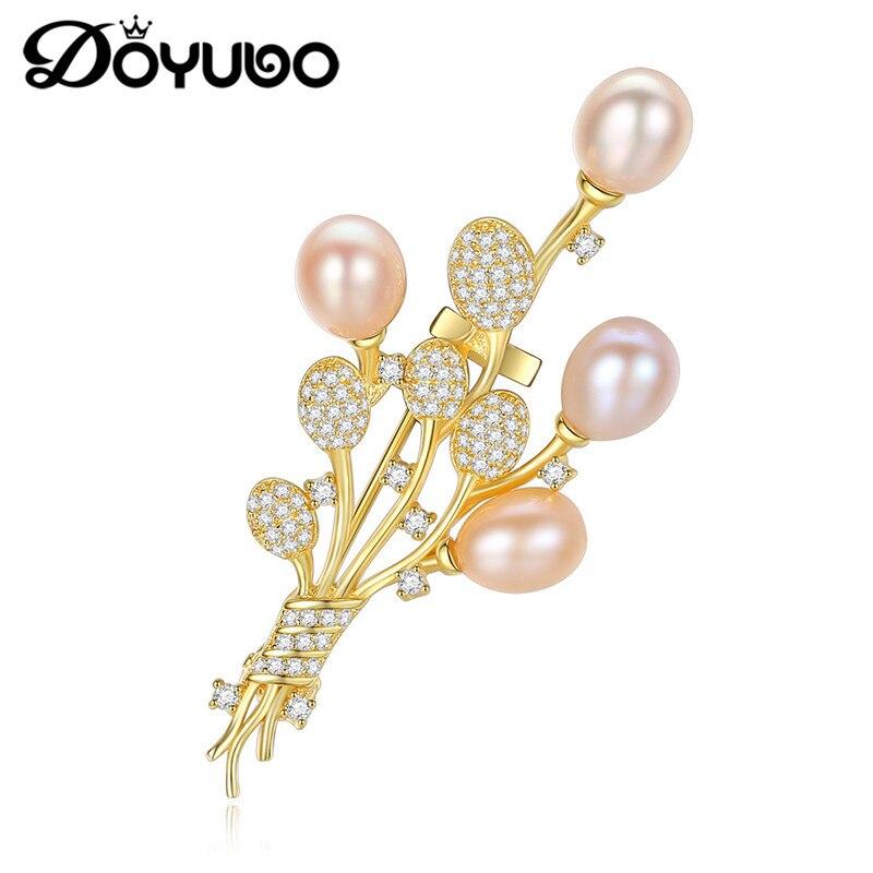 DOYUBO Luxury Silver Brooch Fashion Jewelry 925 Sterling Silver CZ Flower Freshwater Drop Peal Brooch Jewelry For Wedding VH001