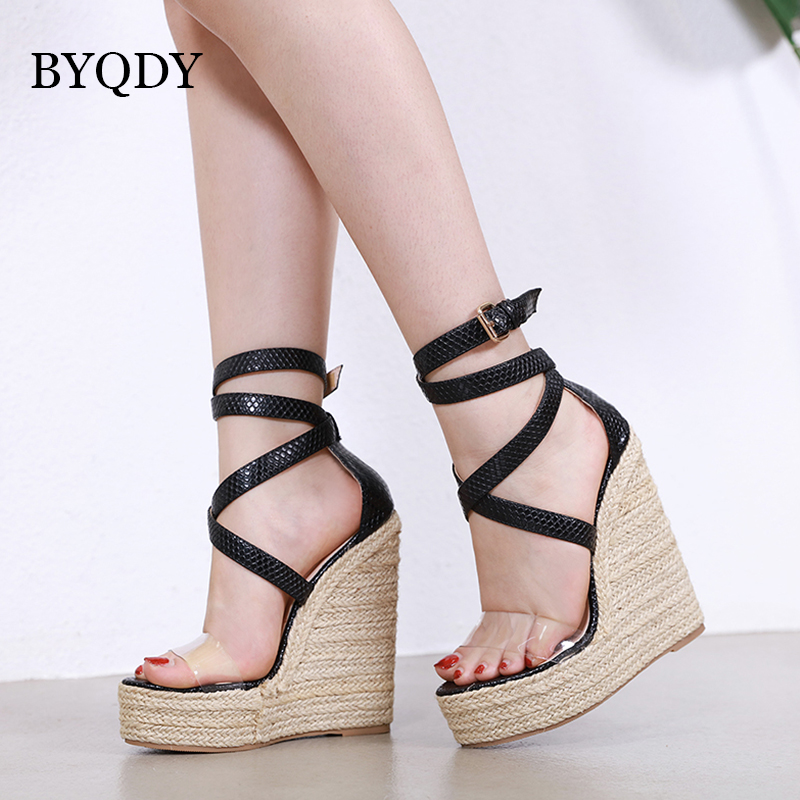 BYQDY Fashion Clear Transparent PVC Sandals Summer Wedges Platform Pointed Toe Ankle Strap Leather Gladiator High Heels