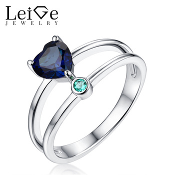 Leige Jewelry Love Heart Cut Blue Sapphire Ring 925 Sterling Silver Women Wedding Promise Rings Prong Setting Christmas Gift