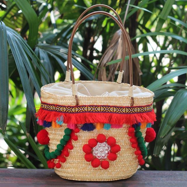 2018 Cute Color Ball Women Summer Sea Beach Bag Small Bohemian Straw Travel Tote Bag Famous Brand Woven Holiday Basket Handbag