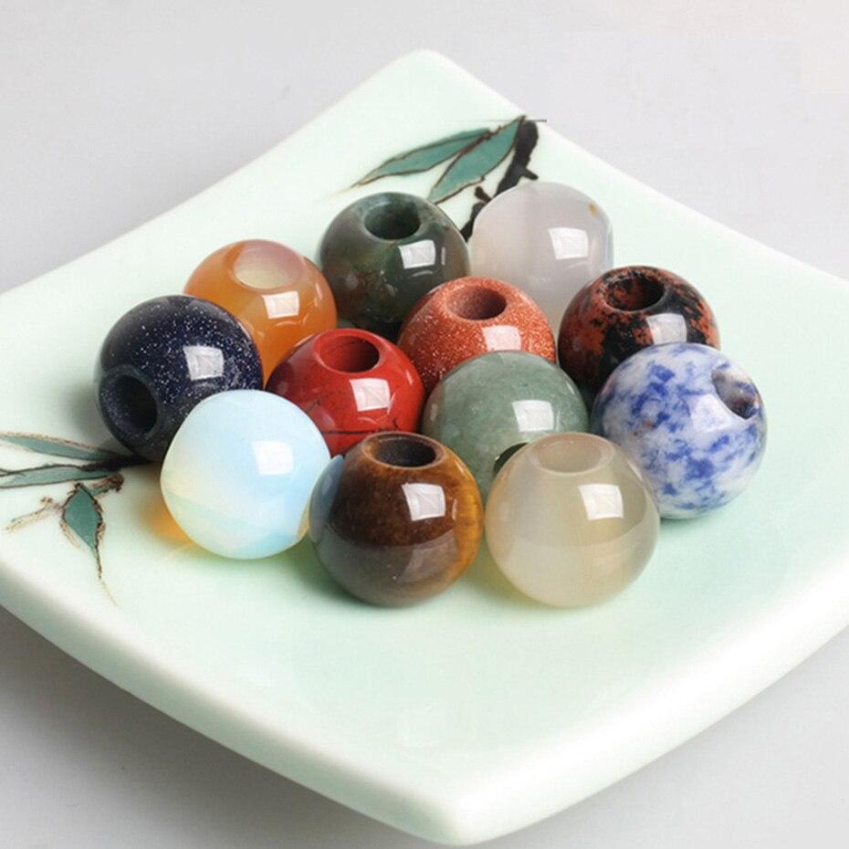 Contas de Contas Cabelo para Tranças de Cabelo Bolsa Pedra Natural Contas Loose Dreadlock Suprimentos Jewelry Making Acessórios 10 Pçs –
