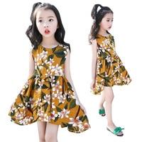 Kids Floral Dresses For Girls Summer Sleeveless Bohemian Dress Children Beach Dress Infant Vestidos 8 10