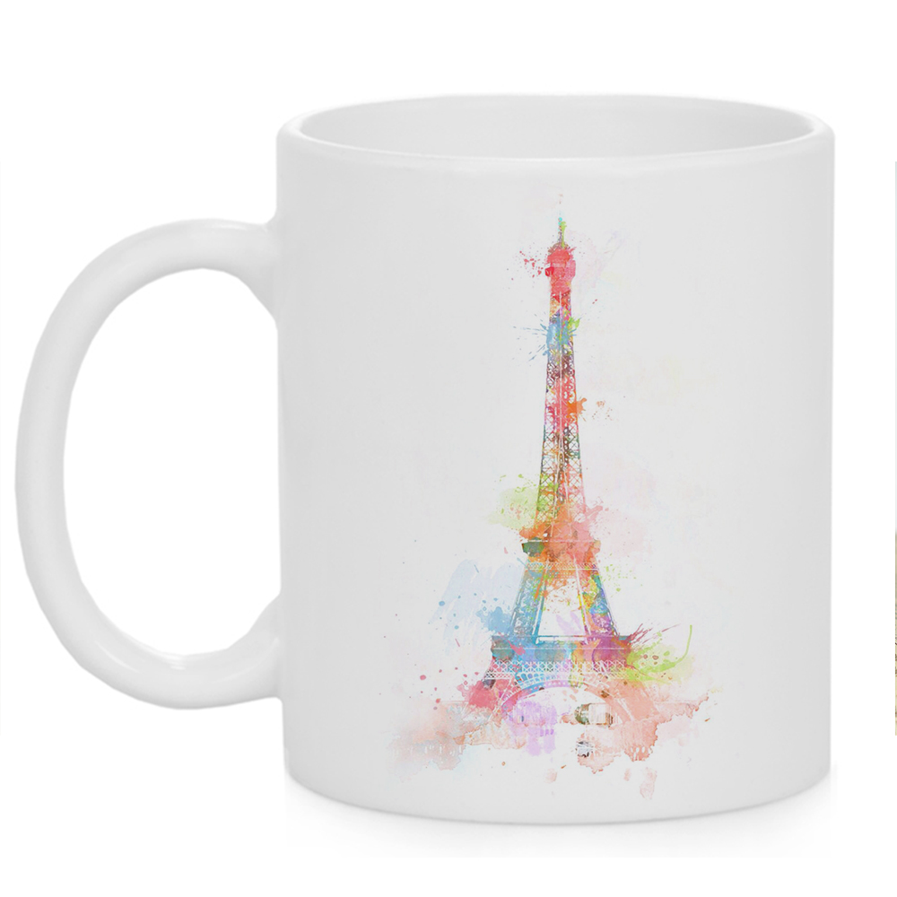 World Famous Places Painting Print Mug 11oz Ceramic Coffee Cup with Photo Gift Art Cool Unique Design Present Cup image