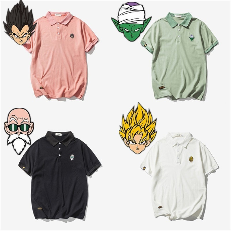 New Anime   Polo   Shirt Fashion Short Black White Dragon Ball Goku Piccolo Embroidery   Polo  -Shirt Men O-Neck Casual Summer Top XXXL