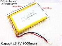 Free Shipping 126090 3 7 V Lithium Polymer Battery 8000 Mah DIY Mobile Emergency Power Charging