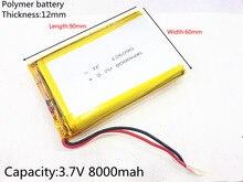 Free shipping 126090 3.7 V lithium polymer battery 8000 mah DIY mobile emergency power charging treasure battery