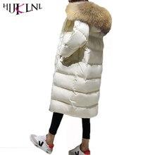 Hijklnl Для женщин длинный пуховик 2017 зимние женские с капюшоном меховой воротник Перо утка Пух куртка пальто парка Mujer plumas QN449