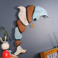 Marine Animals Dolphin Wall Ornaments Wooden Wall Mural Cartoon Decorative Creative Model Wall Hanging Decoration X'max Gift