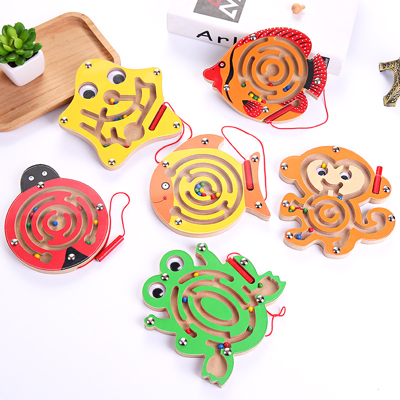 Magnetic Puzzle Maze Ball Board Game Wooden Animal Beads Maze Toy Magnetic Moving Pen Toy Kids Intelligence Puzzle Game