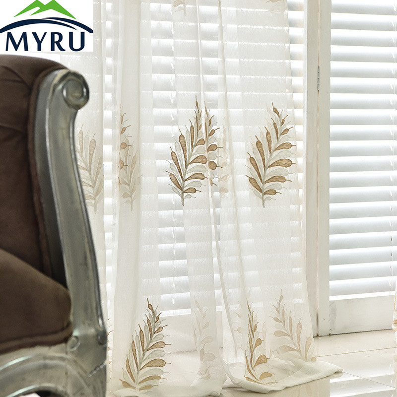 MYRU Korean Pastoral Curtain Stereo Embroidery Style Beautiful Flower Health And Environmental Protection Printing Curtain