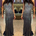 Brilliant Long Evening Dress New Prom Dresses Open Back with Crystal Evening Party vestido de noiva Evening Gown Custom Made