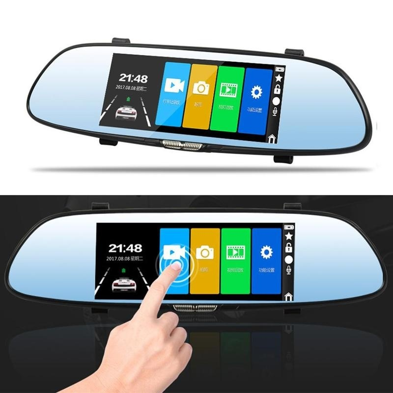 7.0 inch Touch Screen car dvr camera rearview mirror dvrs dual lens recorder night vision dash cam FHD 1080P registrater 5