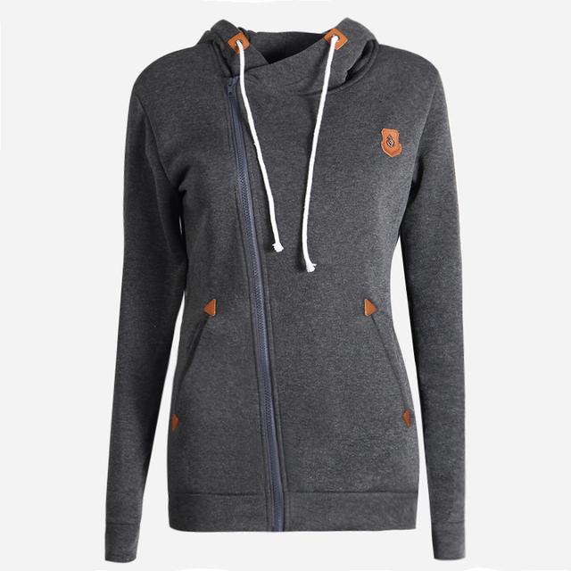 2017 Mulheres Sólidos Casual Hoodies Das Camisolas Pullovers Slim Fit Outono Inverno Turn-down Collar Casaco Hoodey treino para as mulheres