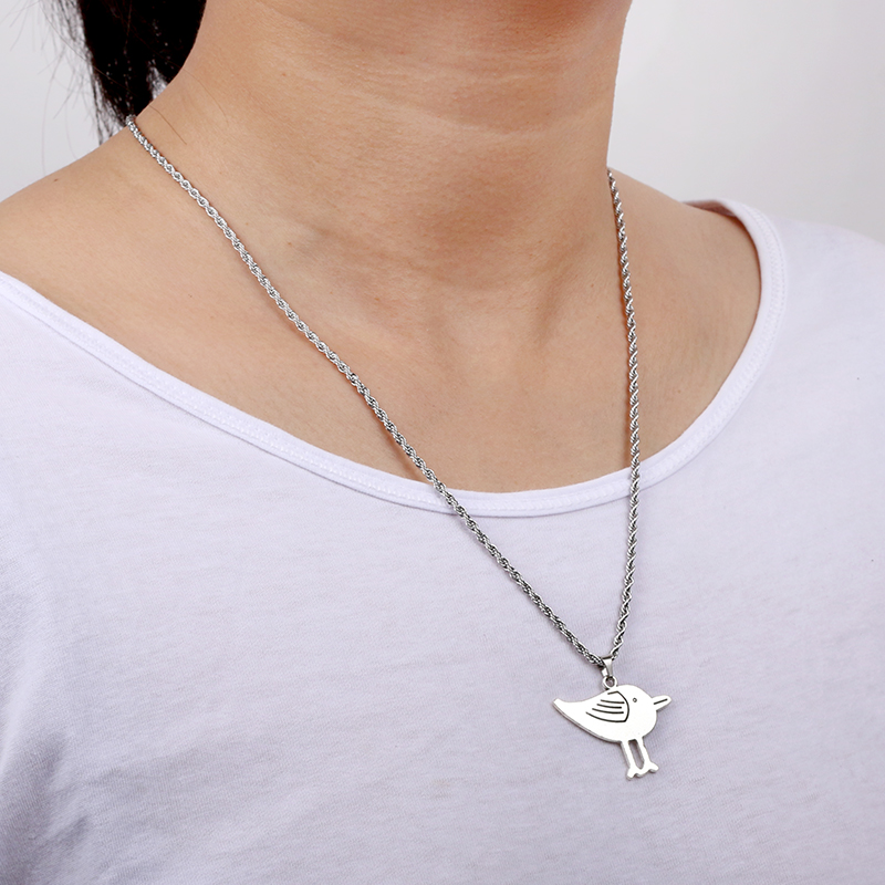 Bird Pendant & Stainless Steel Necklace For Men&Women Metal Seagull Necklaces Rock Music Festival Long Necklaces Jewelry SN26