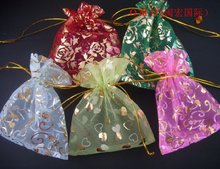 OMH wholesale 50pcs roses love heart mixed 20 color choice nice chinese voile gift bags 12x10cm Jewelry free shipping