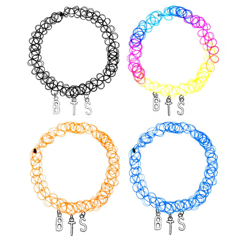 Hiphop Alloy BTS Letter Pendant Plastic Elastic Chain Necklace Chocker Jewelry For Girls Women