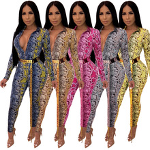 2019 Women sexy Outfits v neck Snakeskin grain long sleeve skinny bodycon club night party jumpsuits